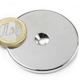 CS-S-50-04-N Disc magnet Ø 50 mm, height 4 mm, with countersunk borehole, N35, nickel-plated