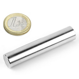 S-12-60-N, Rod magnet Ø 12 mm, height 60 mm, neodymium, N38, nickel-plated