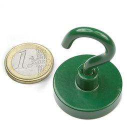 FTNG-32, Hook magnet green Ø 32,3 mm, powder-coated, thread M5