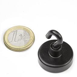 FTNB-25, Hook magnet black Ø 25,3 mm, powder-coated, thread M4