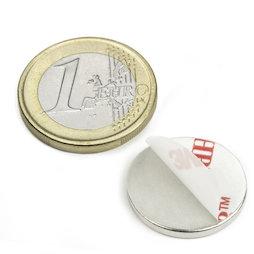 S-20-02-FOAM, Disc magnet self-adhesive Ø 20 mm, height 2 mm, neodymium, N35, nickel-plated
