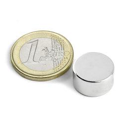 S-15-08-N, Disc magnet Ø 15 mm, height 8 mm, neodymium, N42, nickel-plated