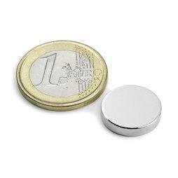 S-15-03-N52N, Disc magnet Ø 15 mm, height 3 mm, neodymium, N52, nickel-plated