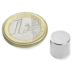 S-10-10-N, Disc magnet Ø 10 mm, height 10 mm, neodymium, N45, nickel-plated