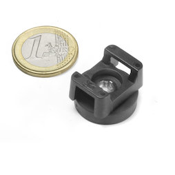 CMN-22, rubber coated pot magnet, for cable mounting, Ø 22 mm