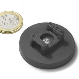 CMN-43, rubberised pot magnet, for cable mounting, Ø 43 mm