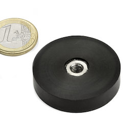 ITNG-40, rubber coated pot magnet, with internal thread M6, Ø 45 mm