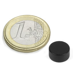 S-10-05-E/black, Colour Black, Disc magnet Ø 10 mm, height 5 mm, neodymium, N42, epoxy coating
