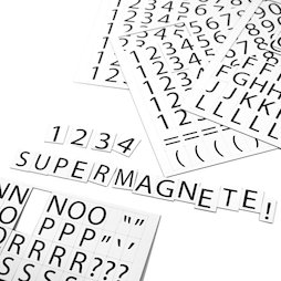 BA-015LN, Letters & numbers magnetic, for labelling metal shelves, 2-piece set, 120 characters per A4 sheet