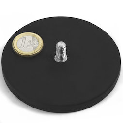 GTNG-88, rubberised pot magnet with threaded peg, Ø 88 mm, thread M8
