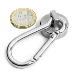 KTN-25, Pot magnet with carabiner Ø 25 mm, length of carabiner 60 mm